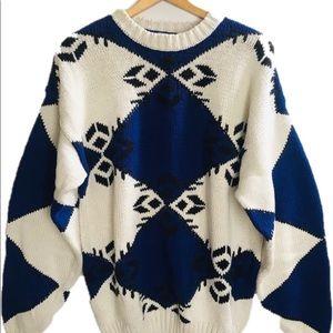 Vintage Cozy Chunky Knit Blue Sweater